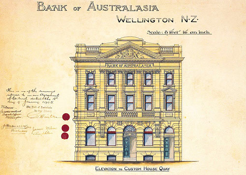 Bank of Australasia, Customhouse Quay, 1905